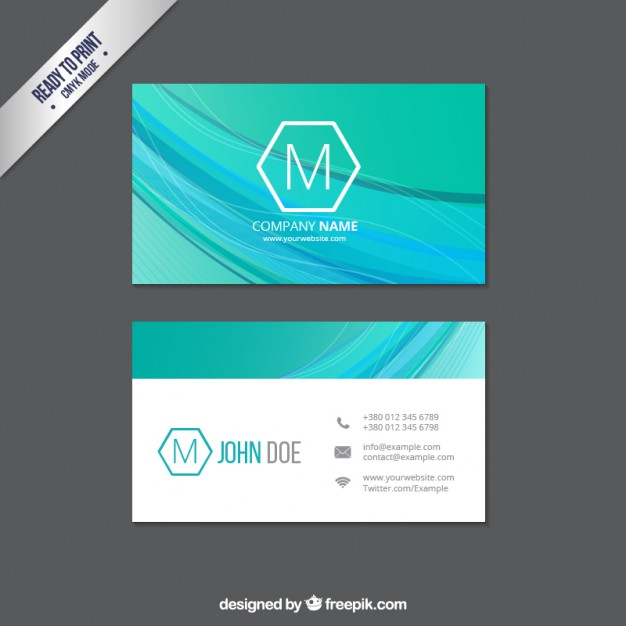 Business card with abstract waves  Vector | Free Download