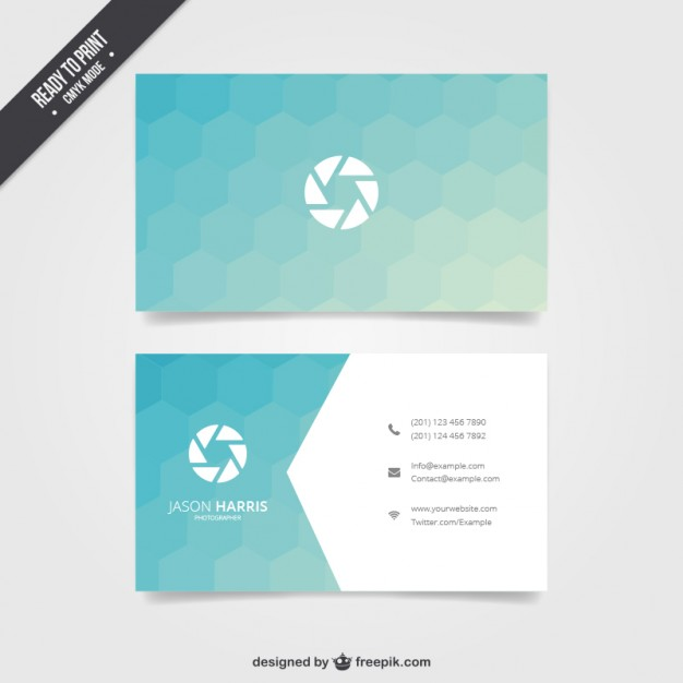 Business card with blue hexagons  Vector | Free Download