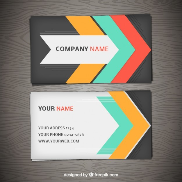 Business card with colorful arrows  Vector | Free Download