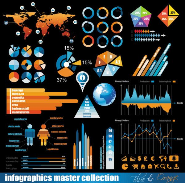 Business color Data Statements vector 01