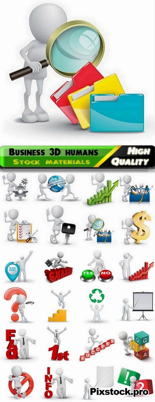 Business 3D white humans in vector from stock – 25 Eps