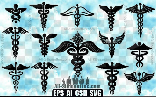 Caduceus vector symbol
