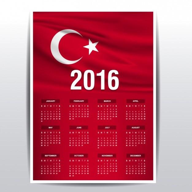 2016 calendar of Turkey flag