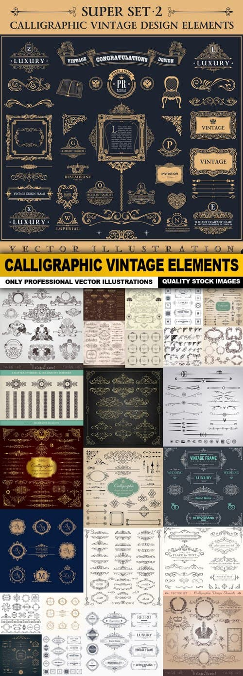 Calligraphic Vintage Elements – 25 Vector