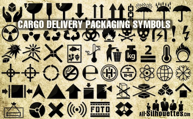 Cargo delivery packaging symbols