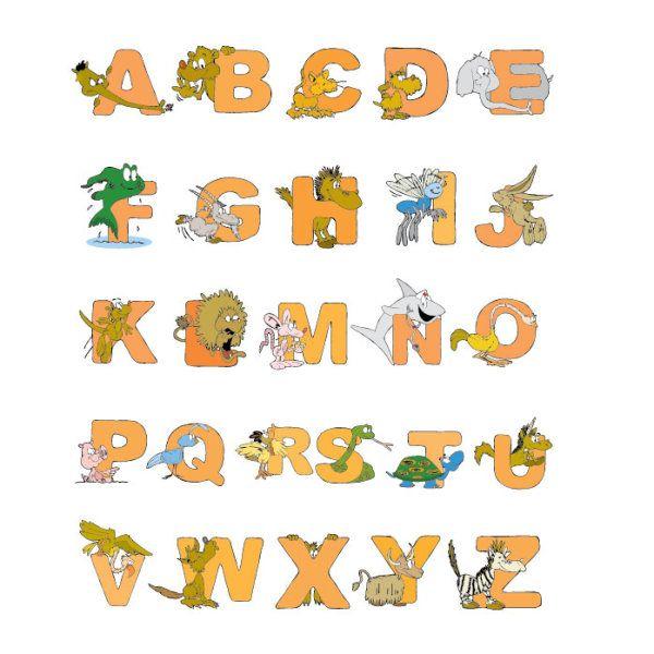 Cartoon animal alphabet design 01