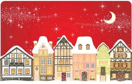 cartoon christmas house background 01 vector
