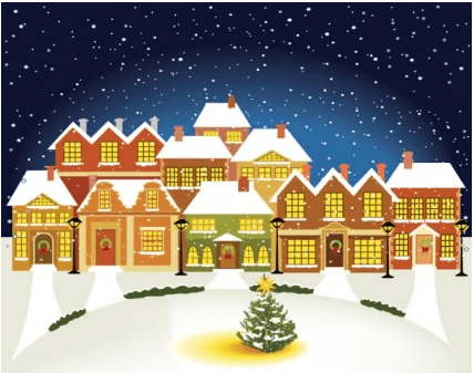 cartoon christmas house background 01 vector