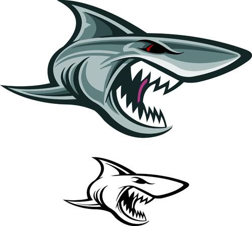 Cartoon funny shark vector material 09