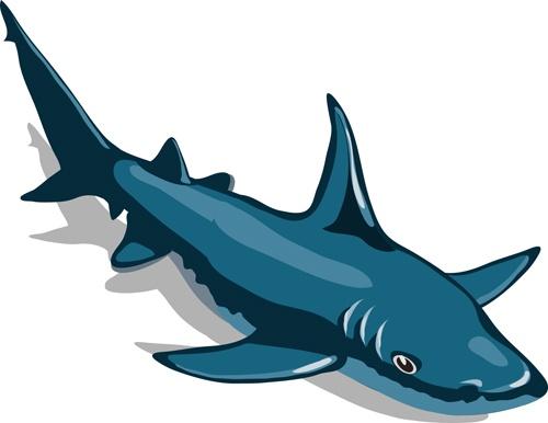 Cartoon funny shark vector material 07