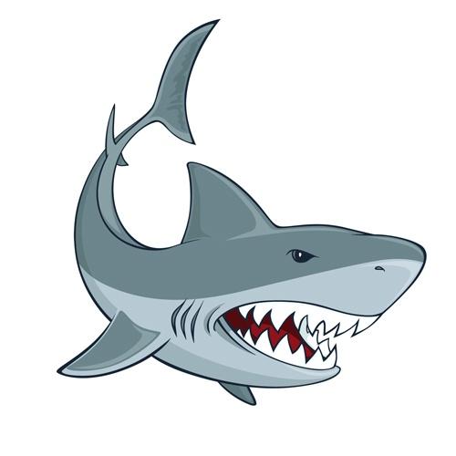 Cartoon funny shark vector material 02
