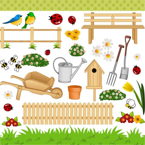 Cartoon gardens art Vector (Bird,Careless,Crawl)