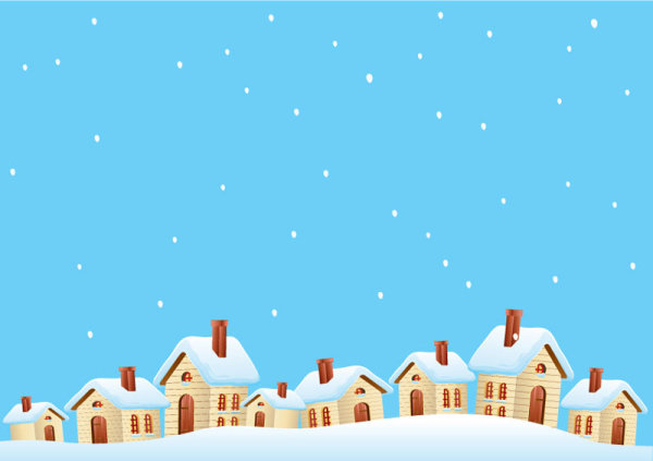 Cartoon house and snow design vector set 01