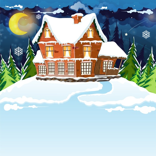 Cartoon house with winter landscape vector 04