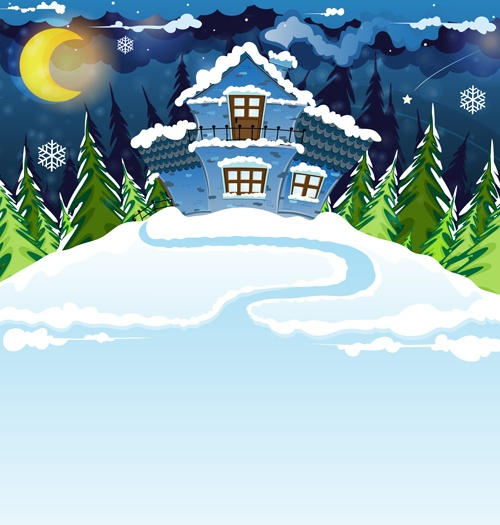 Cartoon house with winter landscape vector 03