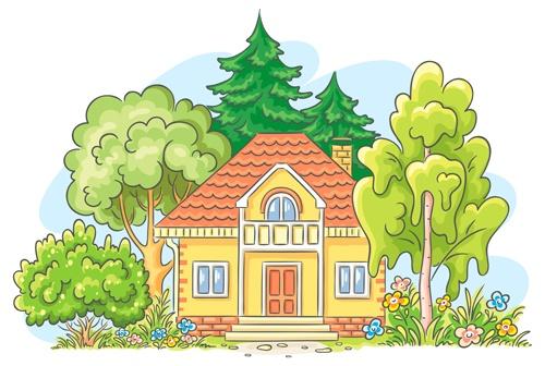 Cartoon landscape hand drawn vectors 03