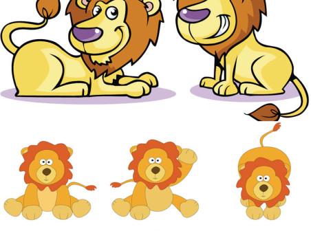 Cartoon lion vector icons