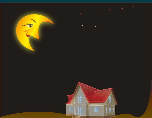 Cartoon moon and house desing vector