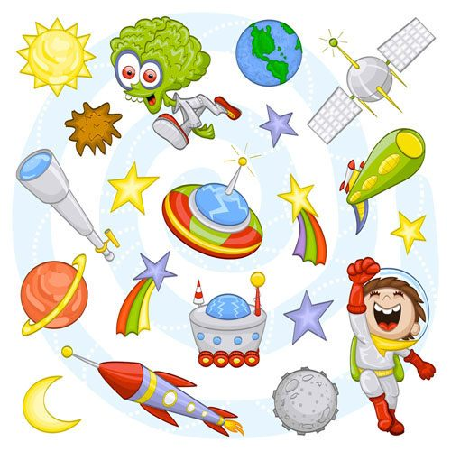 Cartoon Outer space Pattern vector 02