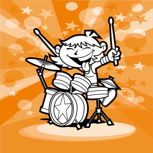 Cartoon People with music design vector 02