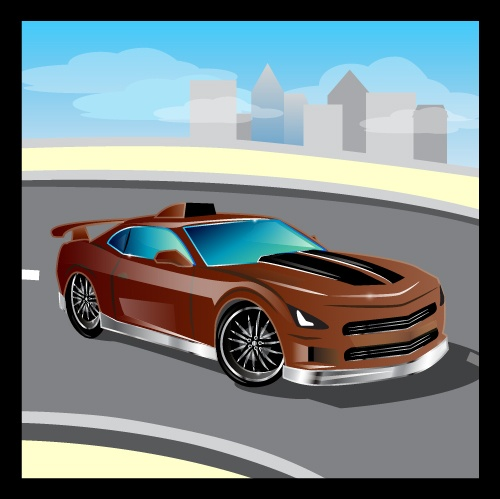 Cartoon sports car design vectors set 11