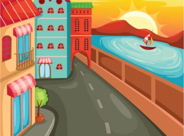 Cartoon street with buildings and sea