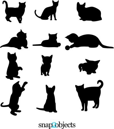 11 Cat Vector Silhouettes