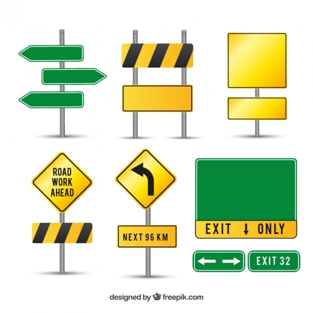 Caution road signs  Vector | Free Download