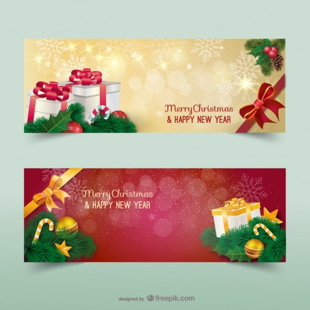 Christmas banners with sparks  Vector | Free Download