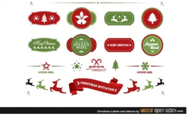 Christmas decors with ribbons and labels  Vector | Free Download