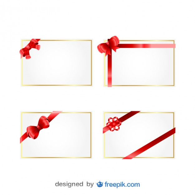Christmas Gift Cards with Red Ribbons