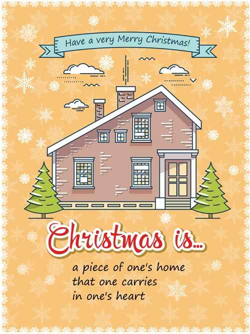 Christmas greeting cards with house vector 10