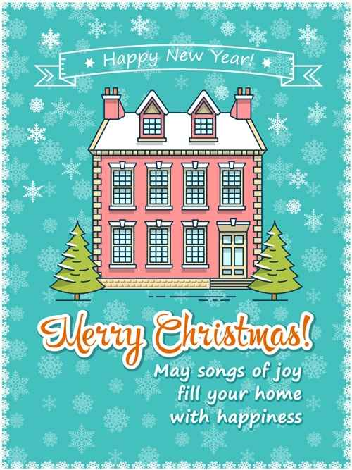 Christmas greeting cards with house vector 09