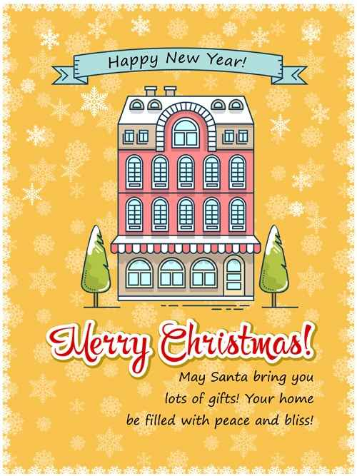 Christmas greeting cards with house vector 08