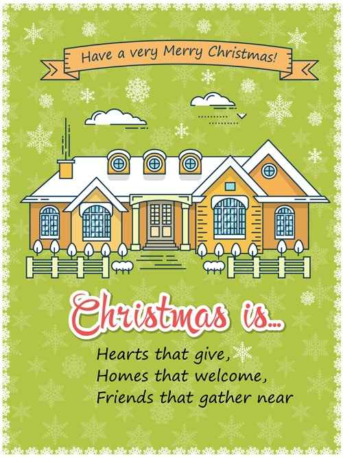 Christmas greeting cards with house vector 07