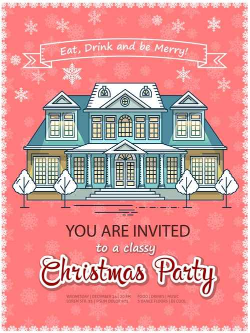 Christmas greeting cards with house vector 06