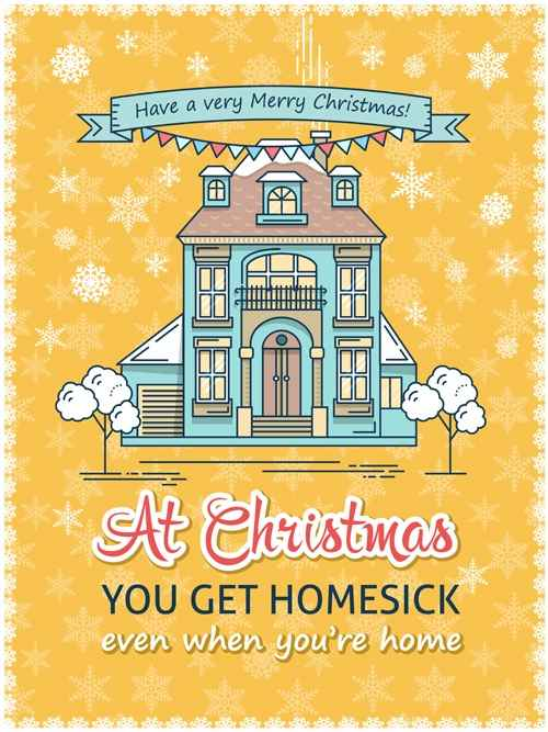 Christmas greeting cards with house vector 04