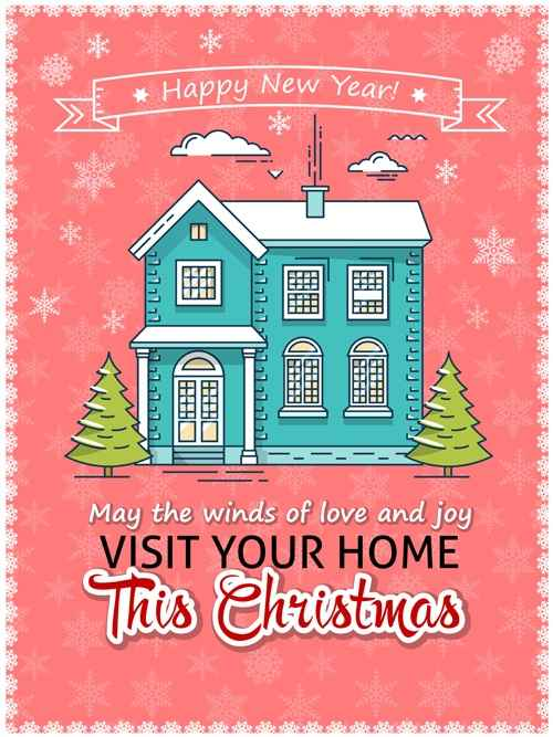 Christmas greeting cards with house vector 02