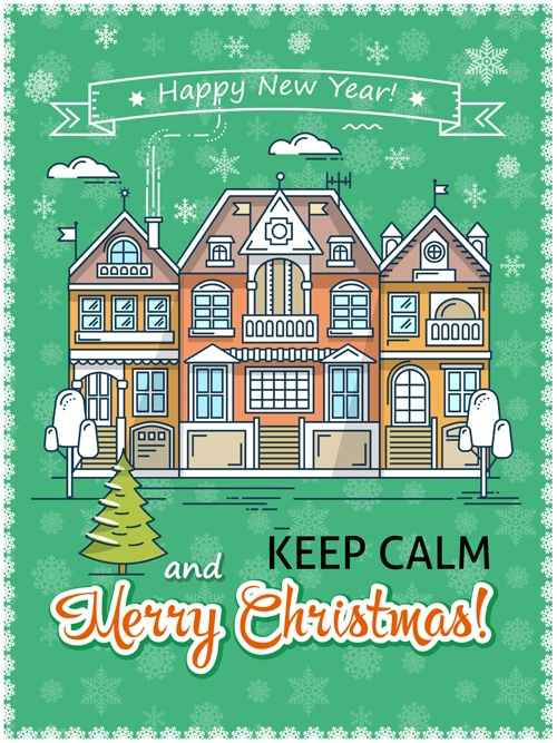 Christmas greeting cards with house vector 01