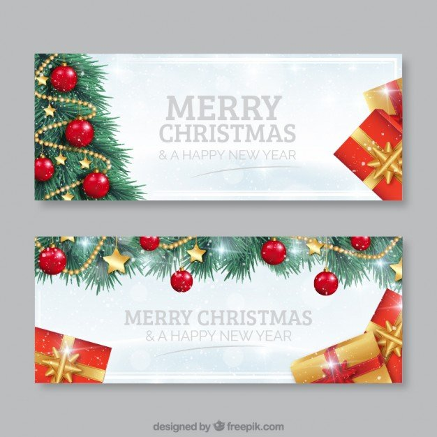 Christmas tree banners Vector | Free Download