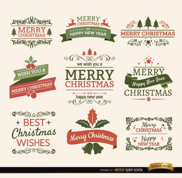 Christmas typographic elements, vintage labels and ribbons Vector | Free Download