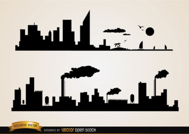 City buildings and industries silhouettes