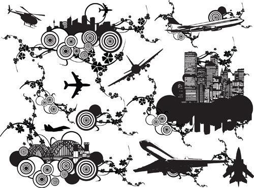 City design elements Silhouettes vector