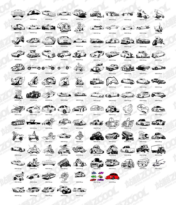 132 classic black and white cartoon car
