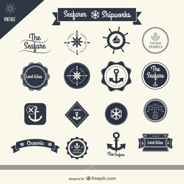 classic sailing stickers    vector  Vector | Free Download