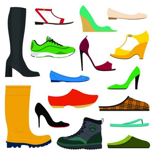 Classic woman shoes design vectors 01