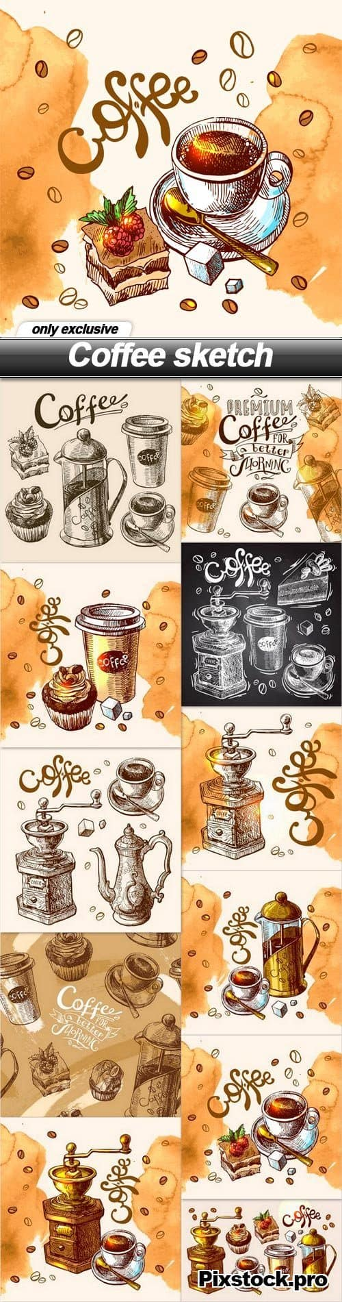 Coffee sketch – 11 EPS