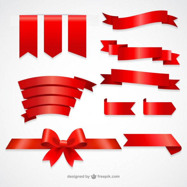 Collection of red ribbons  Vector | Free Download