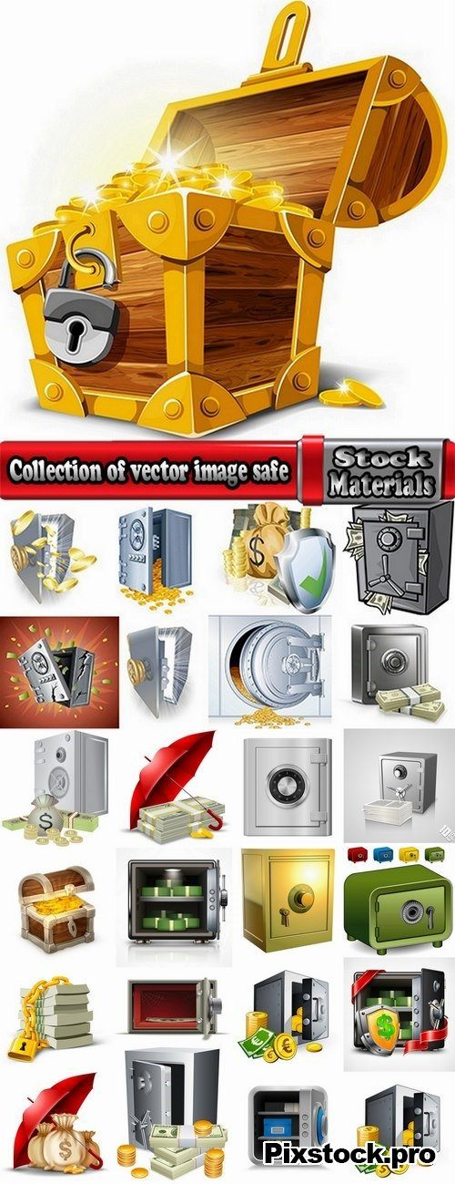 Collection of vector image safe with money 25 EPS