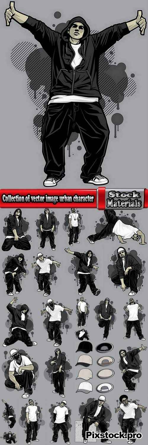 Collection of vector image urban character dude freestyle 25 EPS